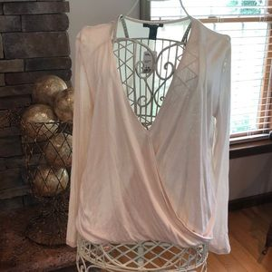 NWT Forever 21 Cream Long Sleeve Surplice Top